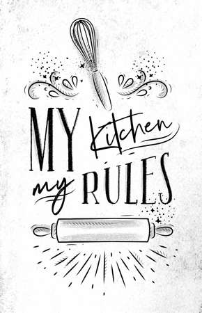 Poster with illustrated pastry equipment lettering my kitchen rules in hand drawing style on dirty paper background.