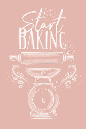Plakat z napisem ilustrowany sprzęt cukierniczy rozpocząć pieczenie w stylu rysowania ręcznego na różowym tle.