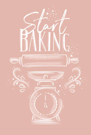 Poster with illustrated pastry equipment lettering start baking in hand drawing style on pink background.