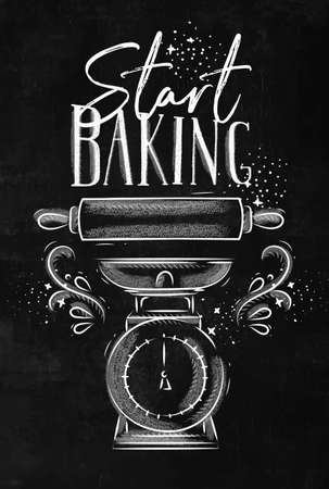 Poster with illustrated pastry equipment lettering start baking in hand drawing style on chalk background.
