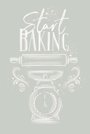 Poster with illustrated pastry equipment lettering start baking in hand drawing style on gray background. Vectores