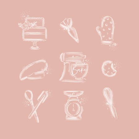 Bakery icon set with illustrated pastry bag, cake, mitts, cook cap, kneading machine, cookies, pastry equipment, scales, whisk in hand drawing style on pink background Иллюстрация