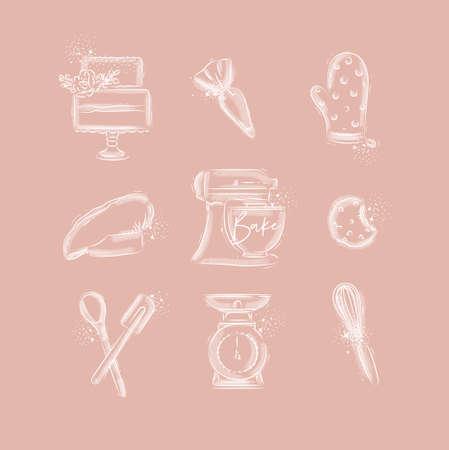 Ensemble d'icônes de boulangerie avec poche à pâtisserie illustrée, gâteau, mitaines, casquette de cuisinier, machine à pétrir, biscuits, équipement de pâtisserie, balances, style de dessin fouetté à la main sur fond rose
