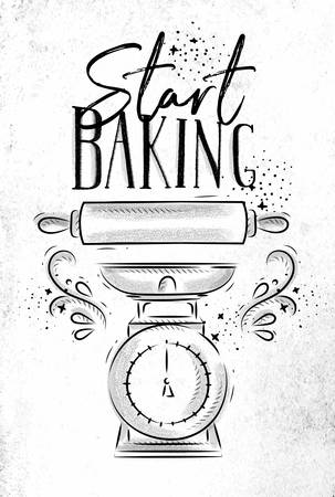 Poster with illustrated pastry equipment lettering start baking in hand drawing style on dirty paper background. Illustration