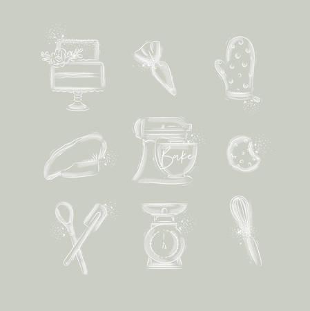 Bäckerei-Icon-Set mit illustriertem Spritzbeutel, Kuchen, Handschuhen, Kochkappe, Knetmaschine, Keksen, Gebäckausrüstung, Waage, Schneebesen in Handzeichnungsstil auf grauem Hintergrund
