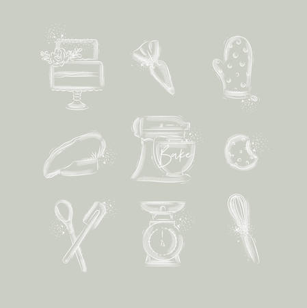 Bakery icon set with illustrated pastry bag, cake, mitts, cook cap, kneading machine, cookies, pastry equipment, scales, whisk in hand drawing style on gray background