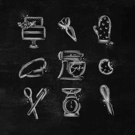 Bäckerei-Icon-Set mit illustriertem Spritzbeutel, Kuchen, Handschuhen, Kochkappe, Knetmaschine, Keksen, Gebäckausrüstung, Waage, Schneebesen in Handzeichnungsstil auf Kreidehintergrund