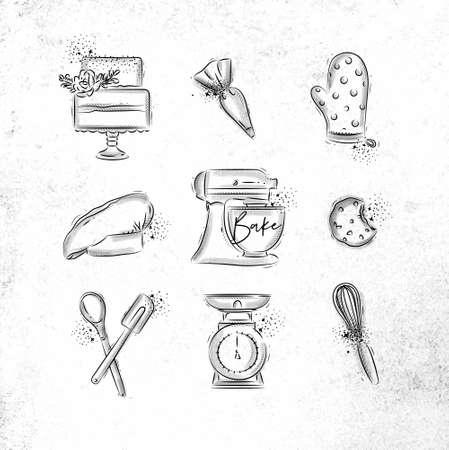 Bakery icon set with illustrated pastry bag, cake, mitts, cook cap, kneading machine, cookies, pastry equipment, scales, whisk in hand drawing style on dirty paper background