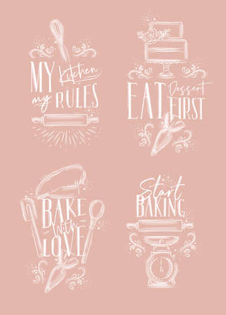 Set of bakery letterings my kitchen rules, eat dessert first, bake with love in hand drawing style on pink background.  イラスト・ベクター素材