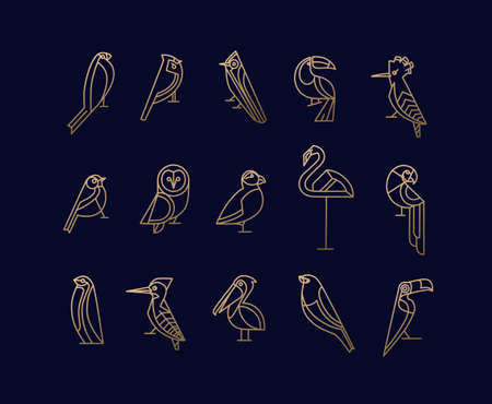 Set of bird icons in vintage art deco flat graphic style drawing on blue background Illustration