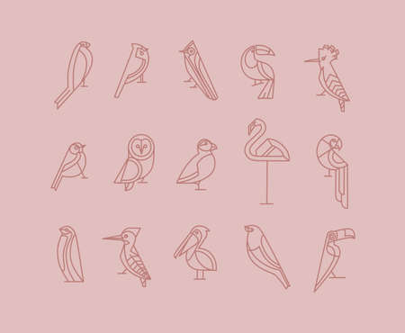 Set of bird icons in vintage art deco flat graphic style drawing on pink background