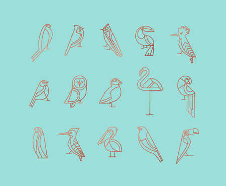 Set of bird icons in vintage art deco flat graphic style drawing on turquoise background