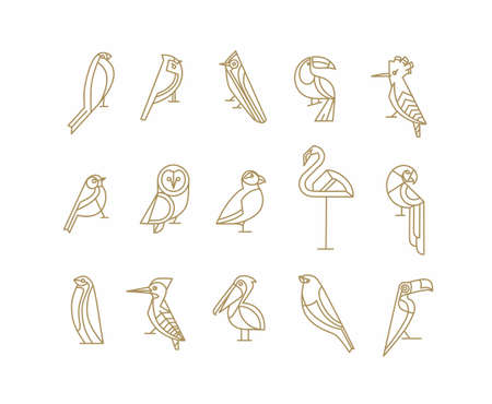Set of bird icons in vintage art deco flat graphic style drawing on white background