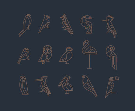 Set of bird icons in vintage art deco flat graphic style drawing on grey background