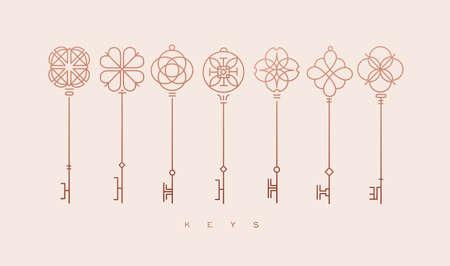 Conjunto de colección de llaves en estilo de línea moderno dibujo sobre fondo beige. Ilustración de vector