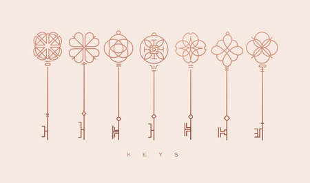 Set of key collection in modern line style drawing on beige background.