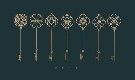 Set of key collection in modern line style drawing on green background. Archivio Fotografico - 123941773
