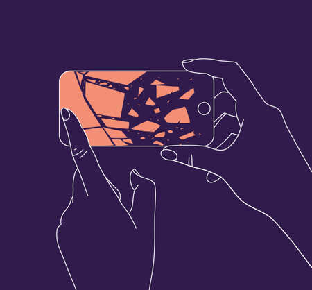 Phone in two hands with broken scattering glass drawing thin lines on blue background
