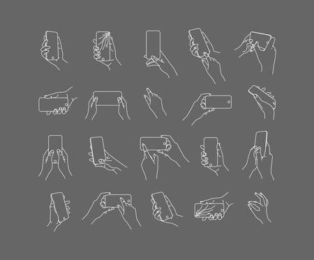 Set of hand phone in different positions and navigation drawing with thin lines on gray background.