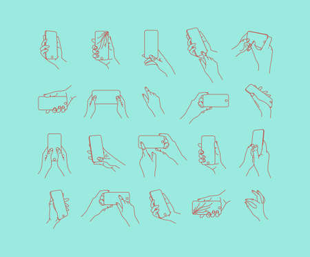 Set of hand phone in different positions and navigation drawing with thin lines on turquoise background.