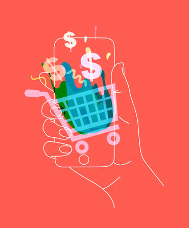 Phone in hand with online shopping symbols drawing thin lines on coral background Illustration