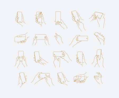Set of hand phone in different positions and navigation drawing with thin lines on light background.  イラスト・ベクター素材