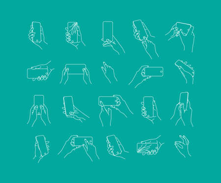 Set of hand phone in different positions and navigation drawing with thin lines on blue background.