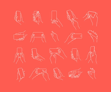 Set of hand phone in different positions and navigation drawing with thin lines on coral background.