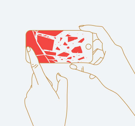 Phone in two hands with broken scattering glass drawing thin lines on white background  イラスト・ベクター素材