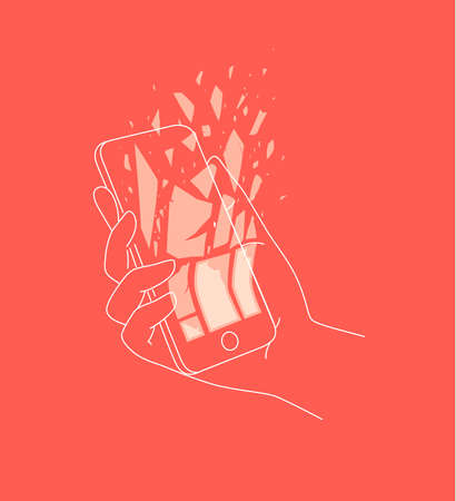 Phone in hand deleting data drawing with thin lines on coral background Иллюстрация