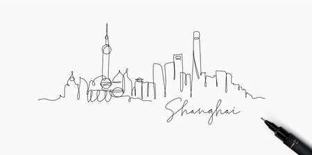 City silhouette Shanghai in pen line style drawing with black lines on white background