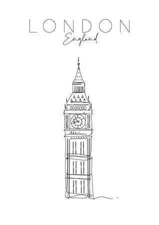 Poster big ben lettering london, england drawing in pen line style on white background Illustration