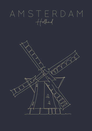Poster windmill lettering amsterdam netherlands drawing in pen line style on dark background Illustration