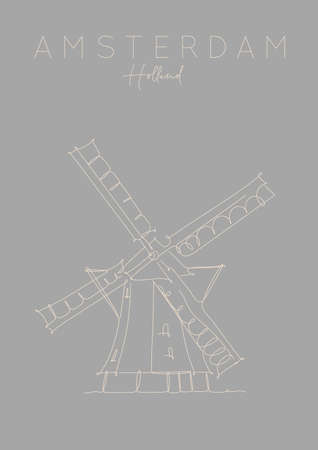 Poster windmill lettering amsterdam netherlands drawing in pen line style on grey background