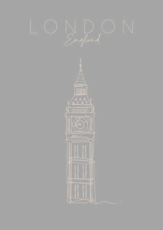 Poster big ben lettering london, england drawing in pen line style on grey background