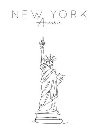Cartel de la estatua de la libertad con letras nueva york, dibujo de américa en estilo de línea de lápiz sobre fondo blanco