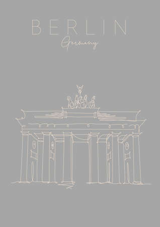 Poster brandenburg gate lettering berlin, germany drawing in pen line style on grey background Illustration