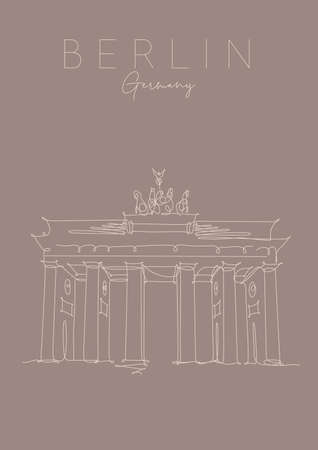 Poster brandenburg gate lettering berlin, germany drawing in pen line style on brown background