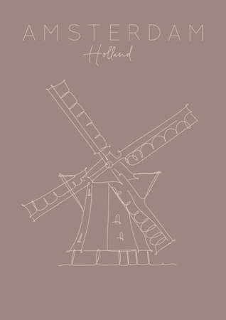 Poster windmill lettering amsterdam netherlands drawing in pen line style on brown background