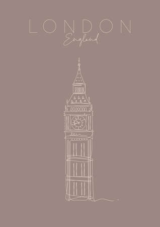Poster big ben lettering london, england drawing in pen line style on brown 일러스트