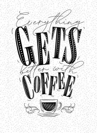 Cartel de letras todo mejora con dibujo de café en blanco Ilustración de vector
