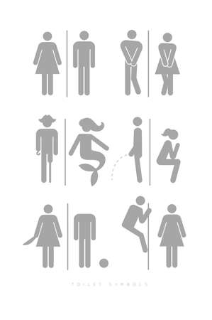 Set of toilet male and female symbols, in different funny, comic forms