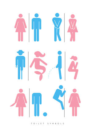 Set of toilet male and female symbols, in different funny, comic forms.