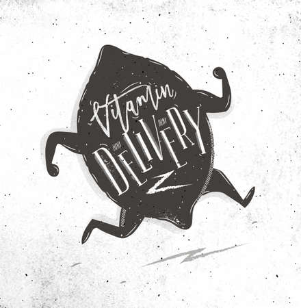 Vitamin delivery with running lemon and lettering drawing on dirty paper background