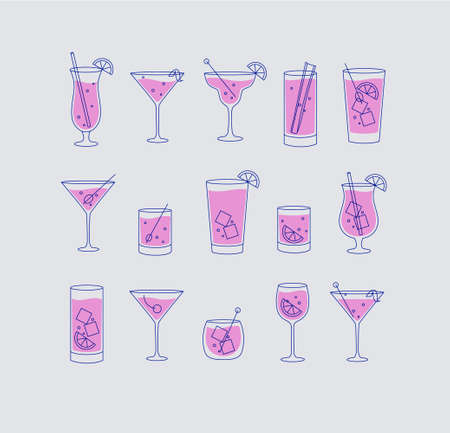 Alcohol drinks and cocktails icon set in flat line style on grey