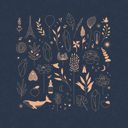 Set of different decorative elements with branches, flowers, animals and various objects drawing on blue background 일러스트