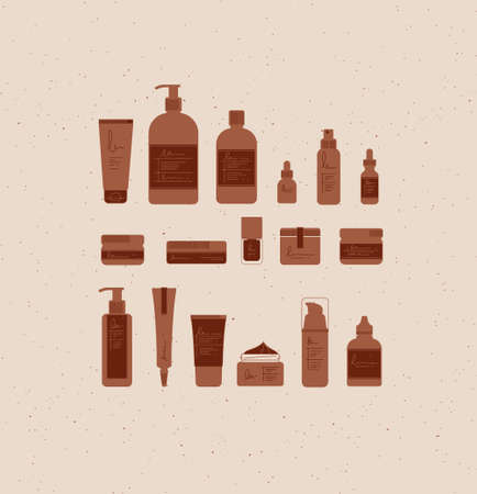 Set of cosmetic bottles in graphic style. Many containers for beauty and fashion products drawing on beige background 일러스트