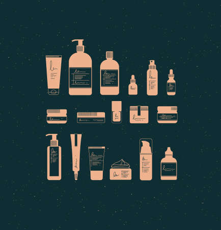 Set of cosmetic bottles in graphic style. Many containers for beauty and fashion products drawing on dark background