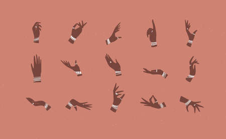 Hands with bracelets and rings in ethnical style in different positions to express feelings and emotions drawing on coral background