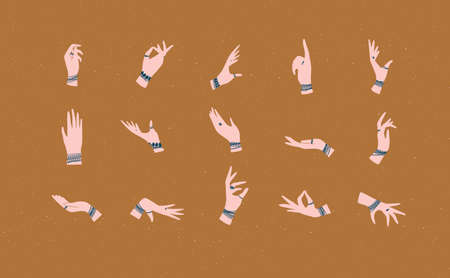 Hands with bracelets and rings in ethnical style in different positions to express feelings and emotions drawing on mustard background